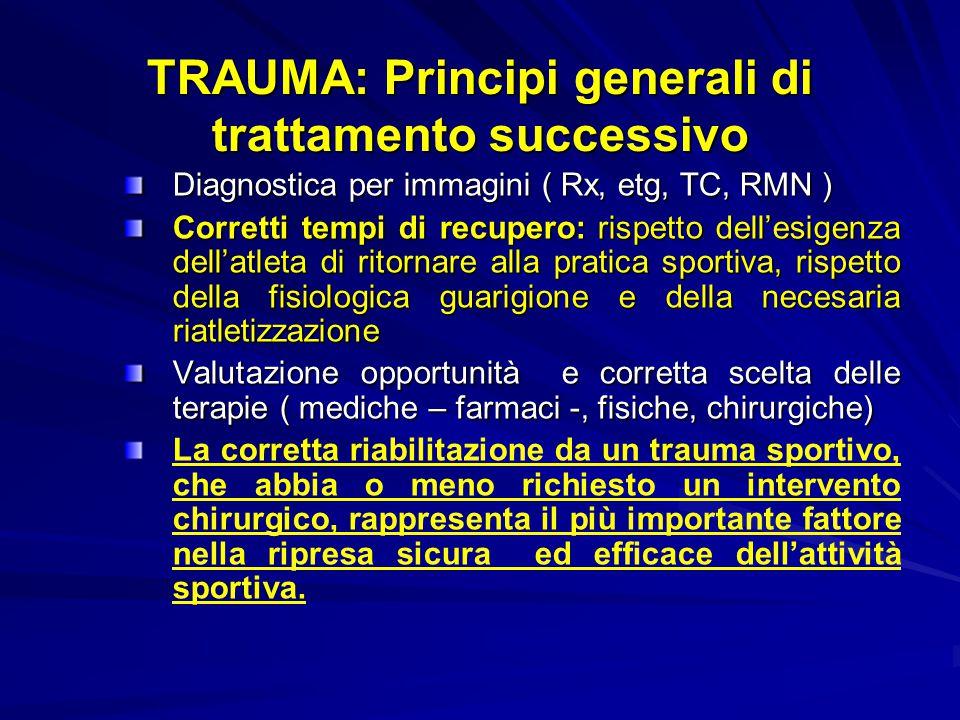 TRAUMA: Principi generali di trattamento successivo