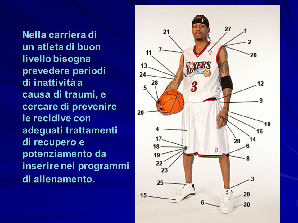 Nella carriera di un atleta di buon. livello bisogna. prevedere periodi. di inattività a. causa di traumi, e.