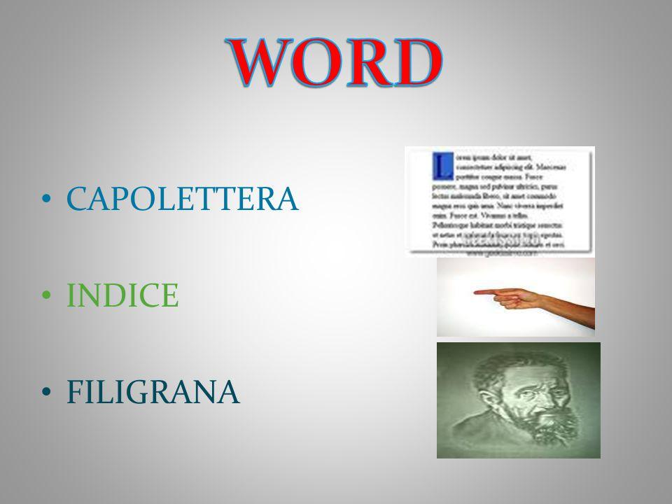 WORD CAPOLETTERA INDICE FILIGRANA