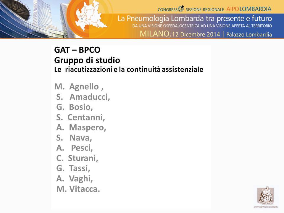 GAT – BPCO Gruppo di studio M. Agnello , S. Amaducci, G. Bosio,