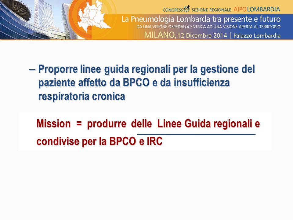 Proporre linee guida regionali per la gestione del paziente affetto da BPCO e da insufficienza respiratoria cronica