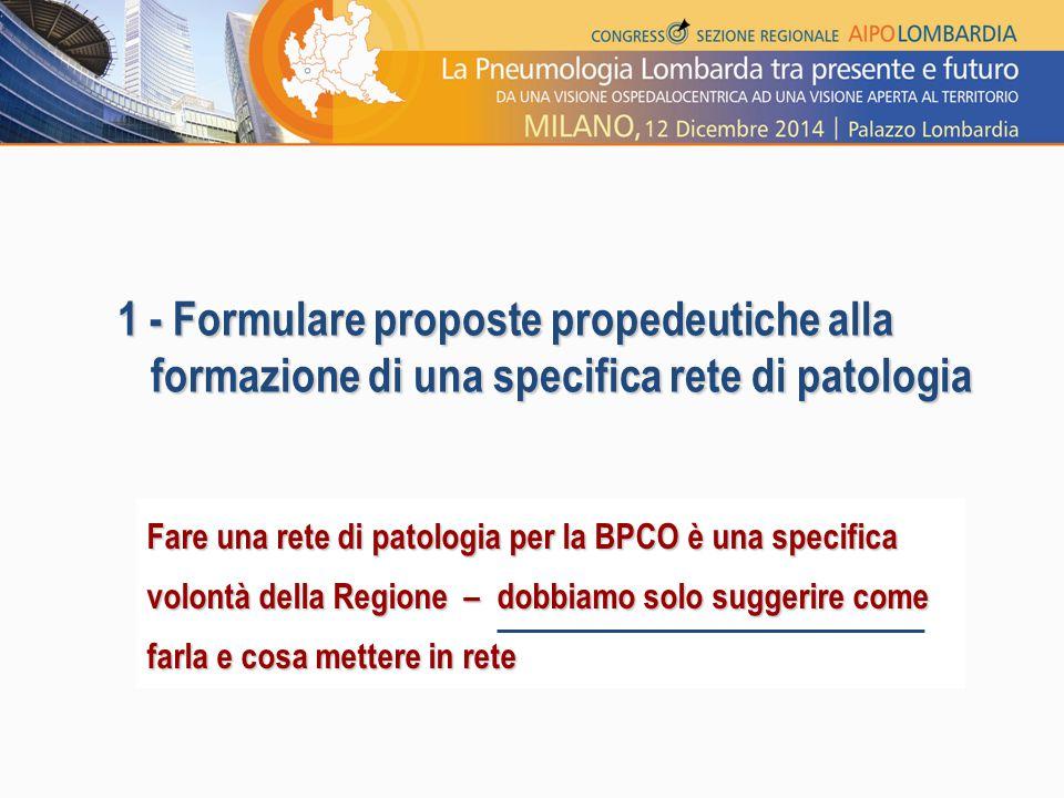 1 - Formulare proposte propedeutiche alla formazione di una specifica rete di patologia