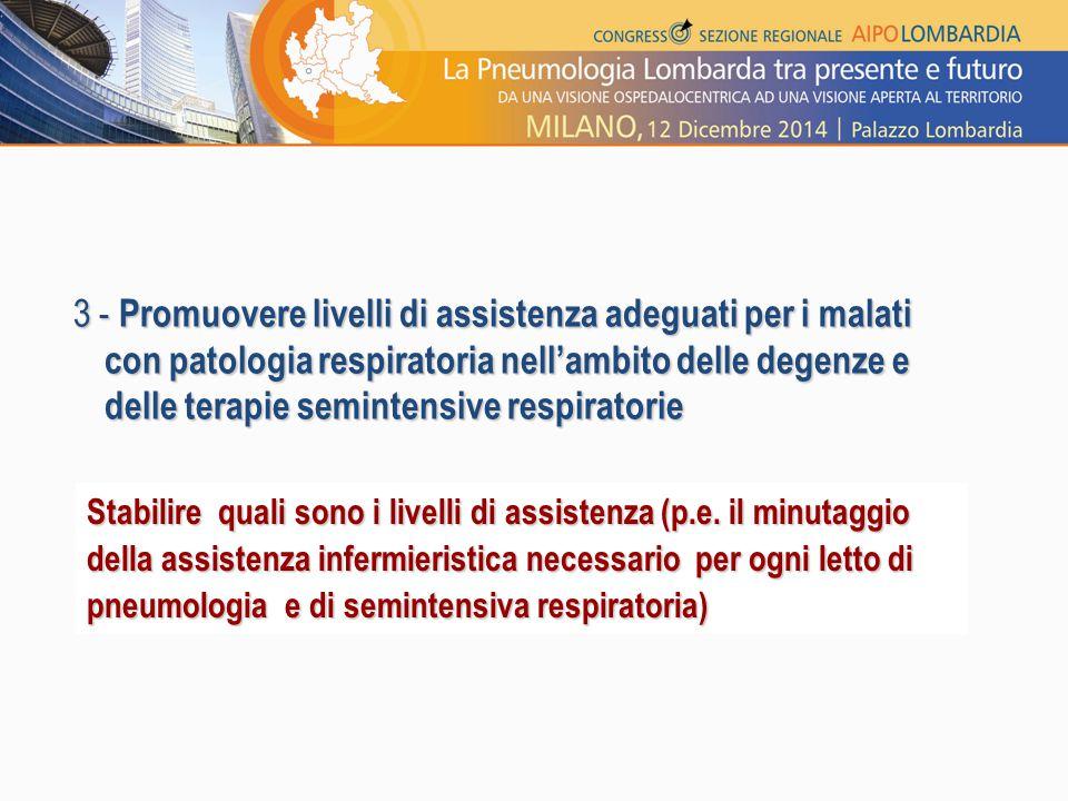3 - Promuovere livelli di assistenza adeguati per i malati con patologia respiratoria nell'ambito delle degenze e delle terapie semintensive respiratorie