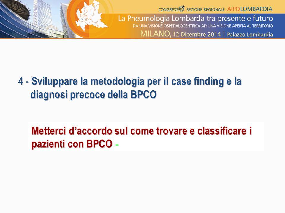 4 - Sviluppare la metodologia per il case finding e la diagnosi precoce della BPCO