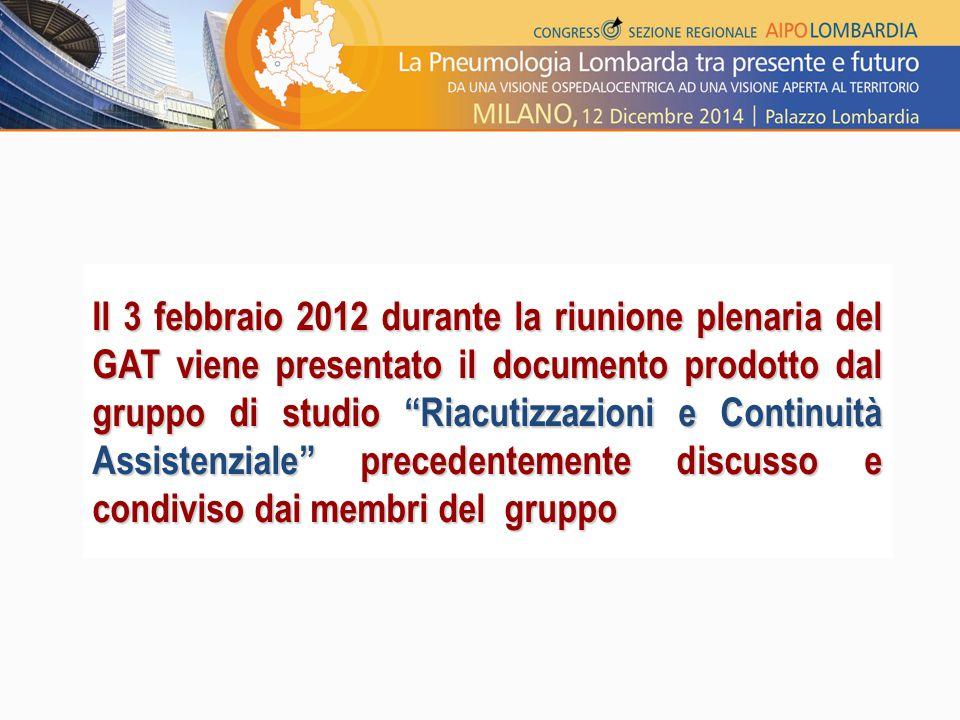 Il 3 febbraio 2012 durante la riunione plenaria del GAT viene presentato il documento prodotto dal gruppo di studio Riacutizzazioni e Continuità Assistenziale precedentemente discusso e condiviso dai membri del gruppo