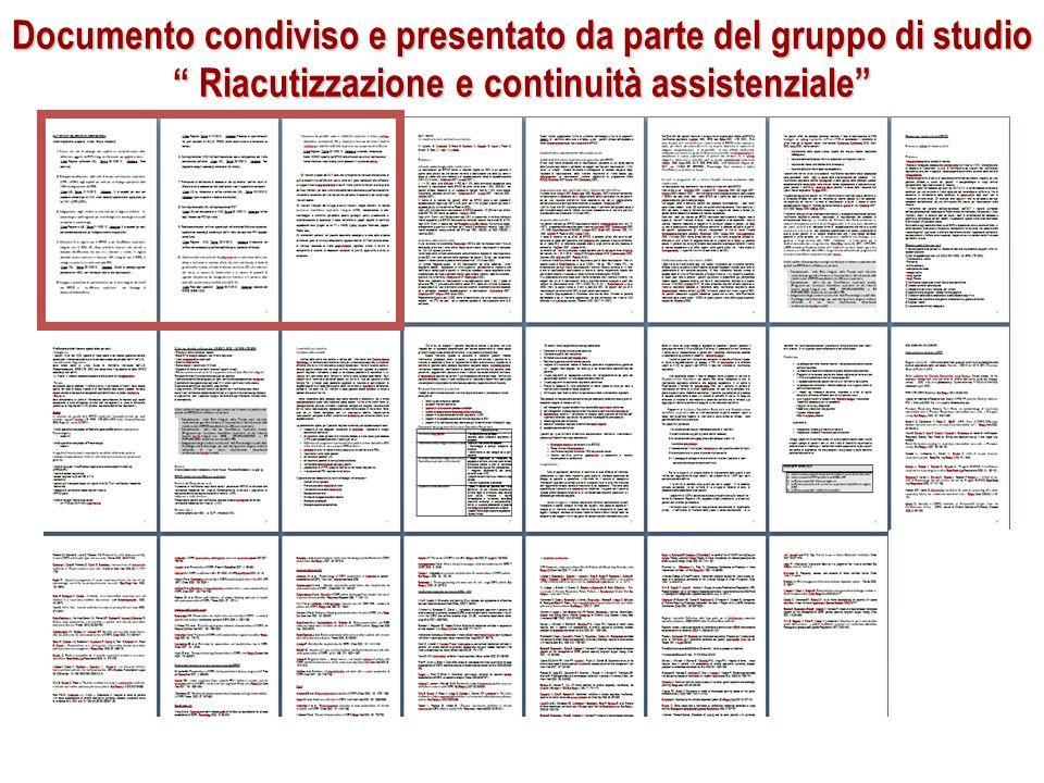 Documento condiviso e presentato da parte del gruppo di studio Riacutizzazione e continuità assistenziale
