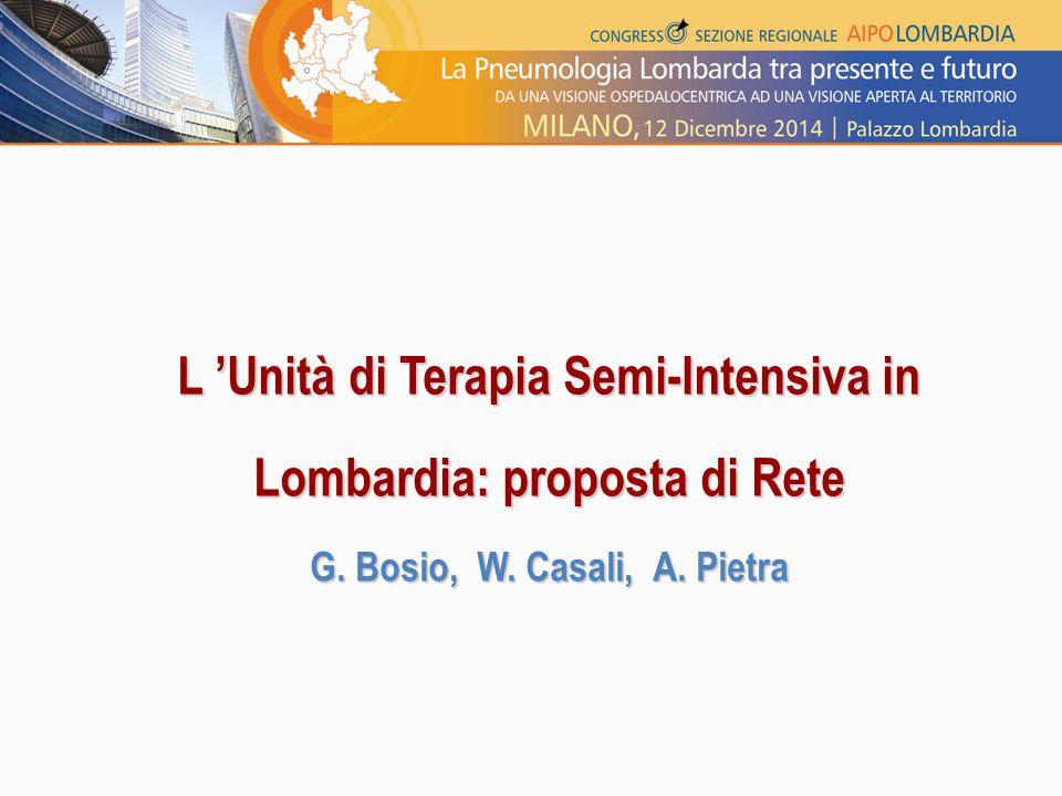 L 'Unità di Terapia Semi-Intensiva in Lombardia: proposta di Rete