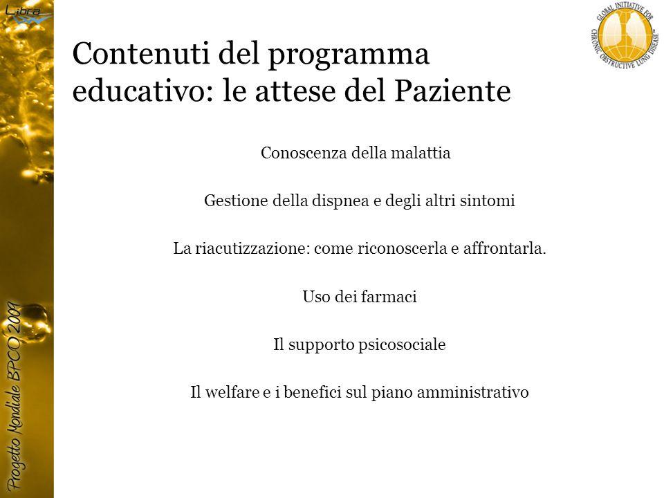 Contenuti del programma educativo: le attese del Paziente