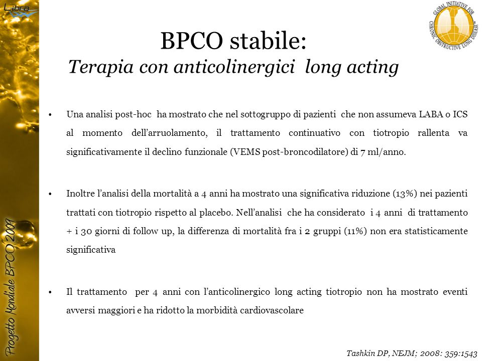 BPCO stabile: Terapia con anticolinergici long acting