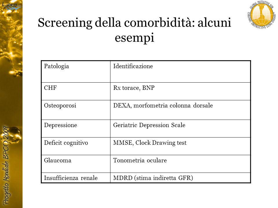 Screening della comorbidità: alcuni esempi