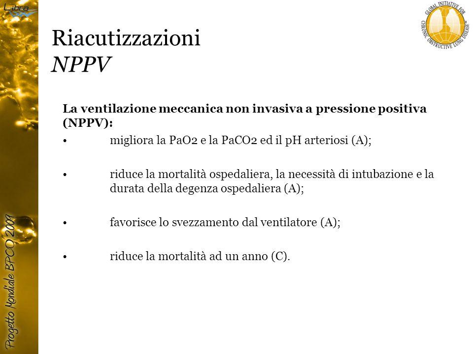 Riacutizzazioni NPPV La ventilazione meccanica non invasiva a pressione positiva (NPPV): migliora la PaO2 e la PaCO2 ed il pH arteriosi (A);