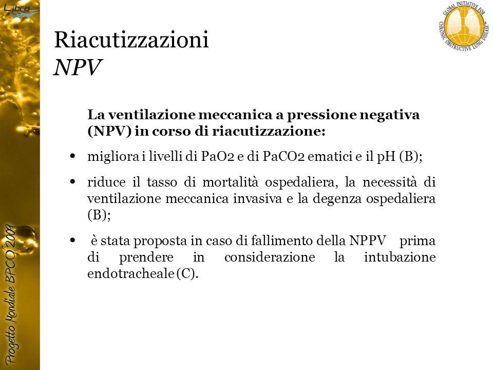 Riacutizzazioni NPV La ventilazione meccanica a pressione negativa (NPV) in corso di riacutizzazione: