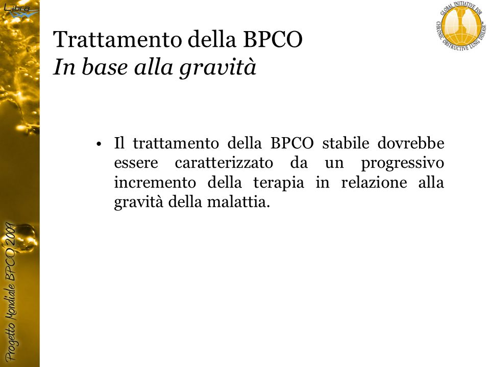 Trattamento della BPCO In base alla gravità