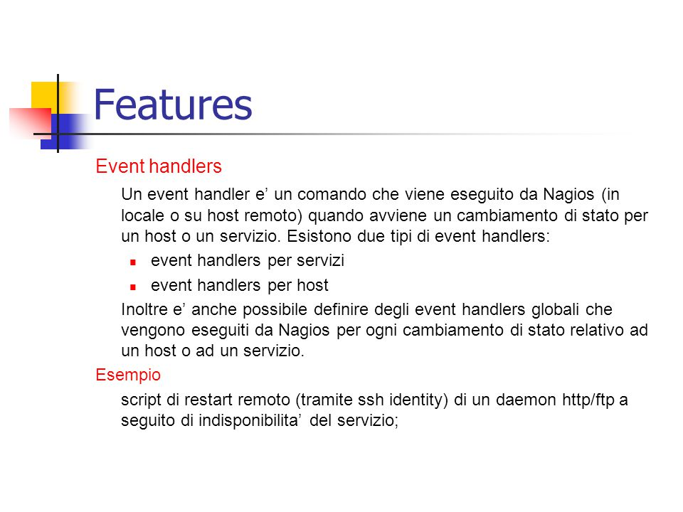 Features Event handlers