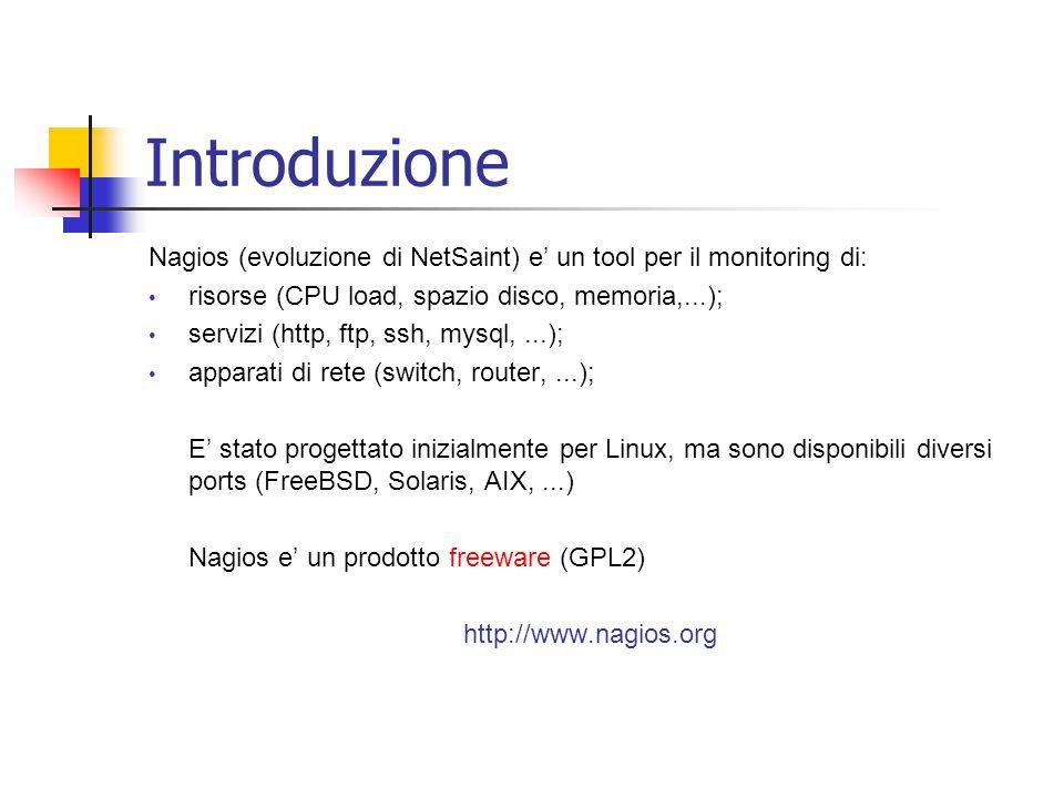 Introduzione Nagios (evoluzione di NetSaint) e' un tool per il monitoring di: risorse (CPU load, spazio disco, memoria,...);