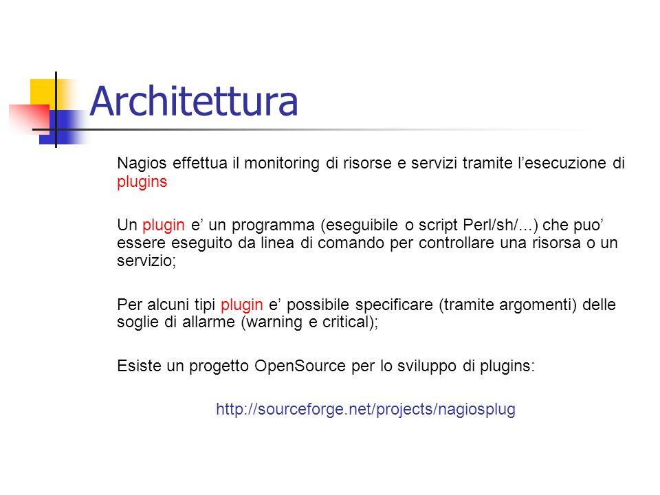 Architettura Nagios effettua il monitoring di risorse e servizi tramite l'esecuzione di plugins.