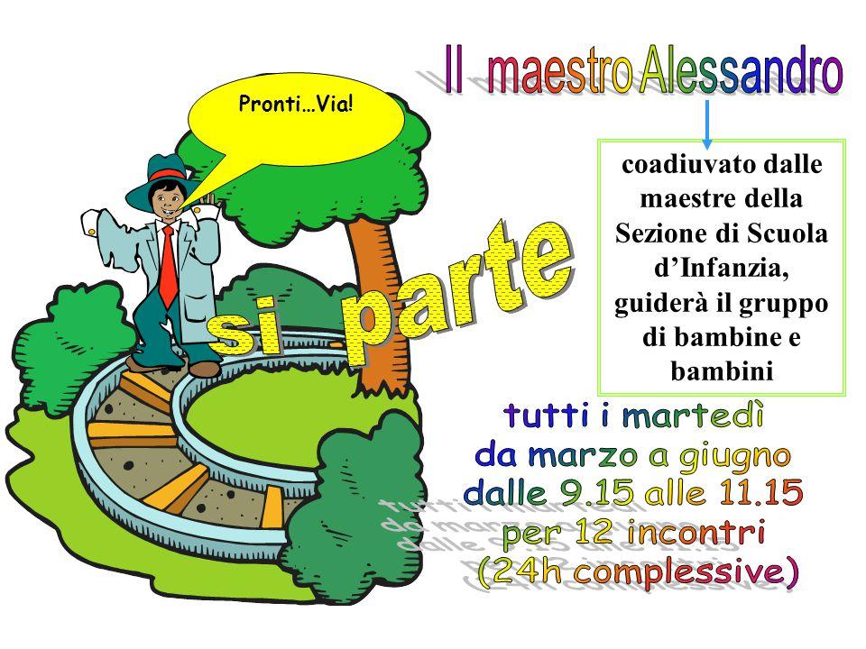 Il maestro Alessandro Pronti…Via! coadiuvato dalle maestre della Sezione di Scuola d'Infanzia, guiderà il gruppo di bambine e bambini.