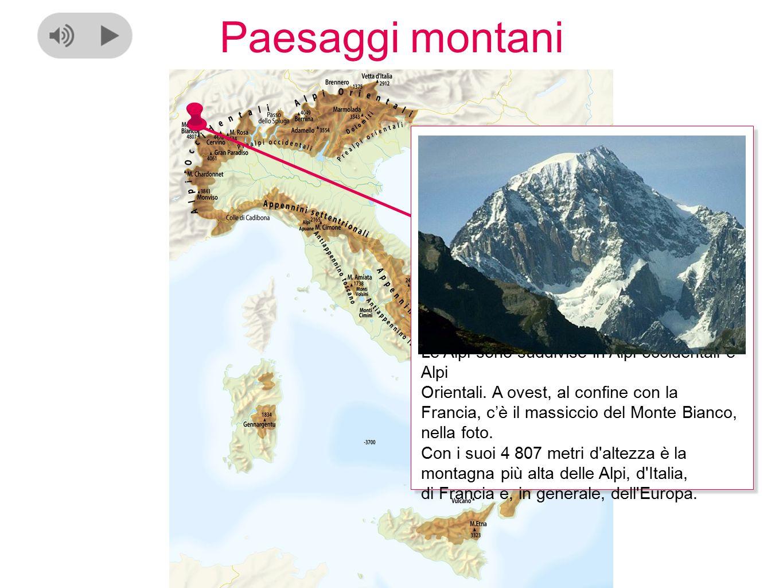 Paesaggi montani Le Alpi sono suddivise in Alpi occidentali e Alpi