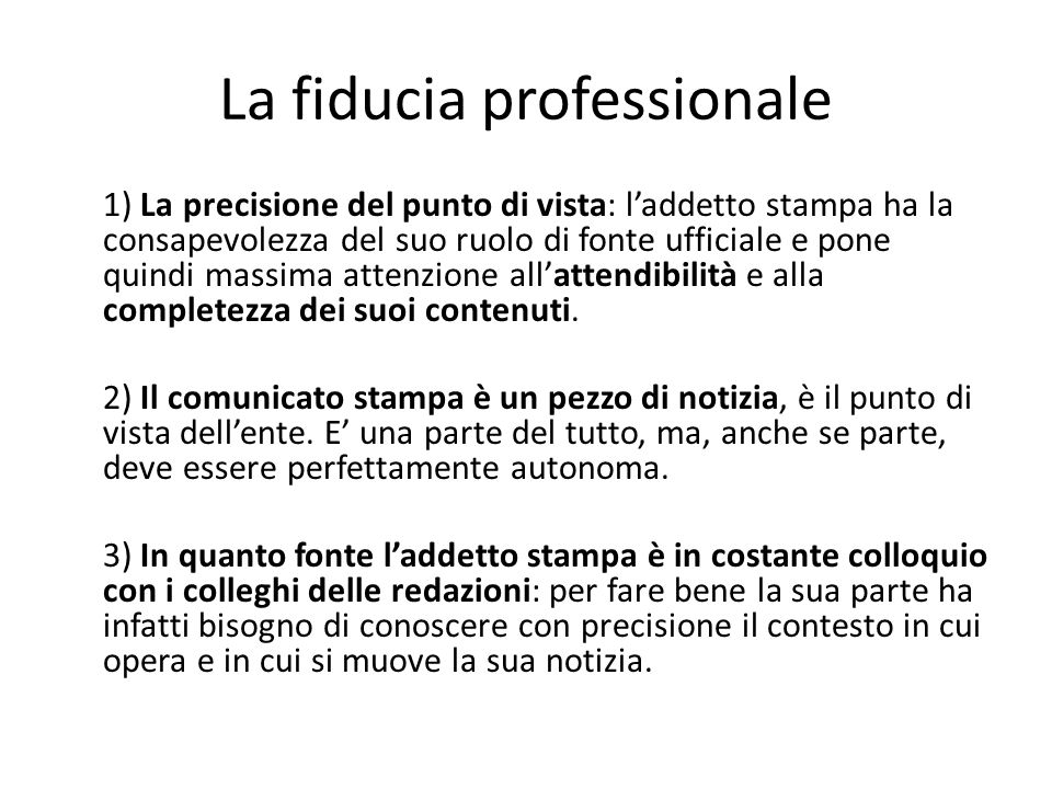 La fiducia professionale