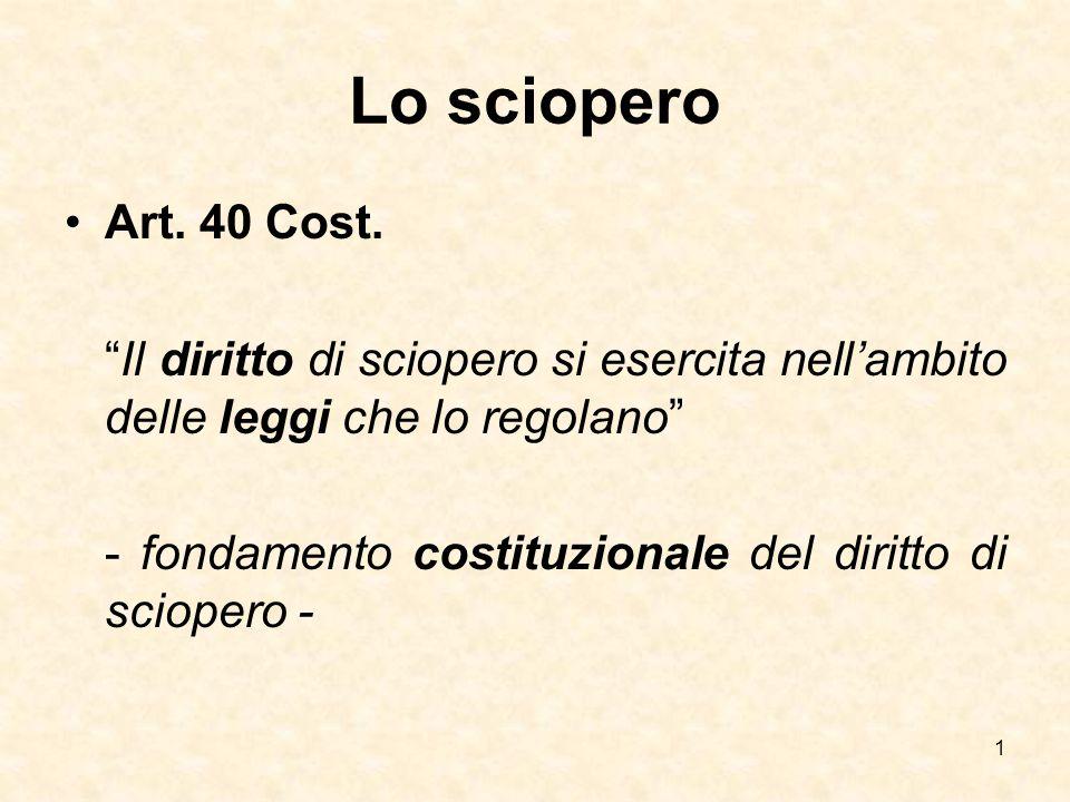 Lo sciopero Art. 40 Cost. Il diritto di sciopero si esercita nell'ambito delle leggi che lo regolano