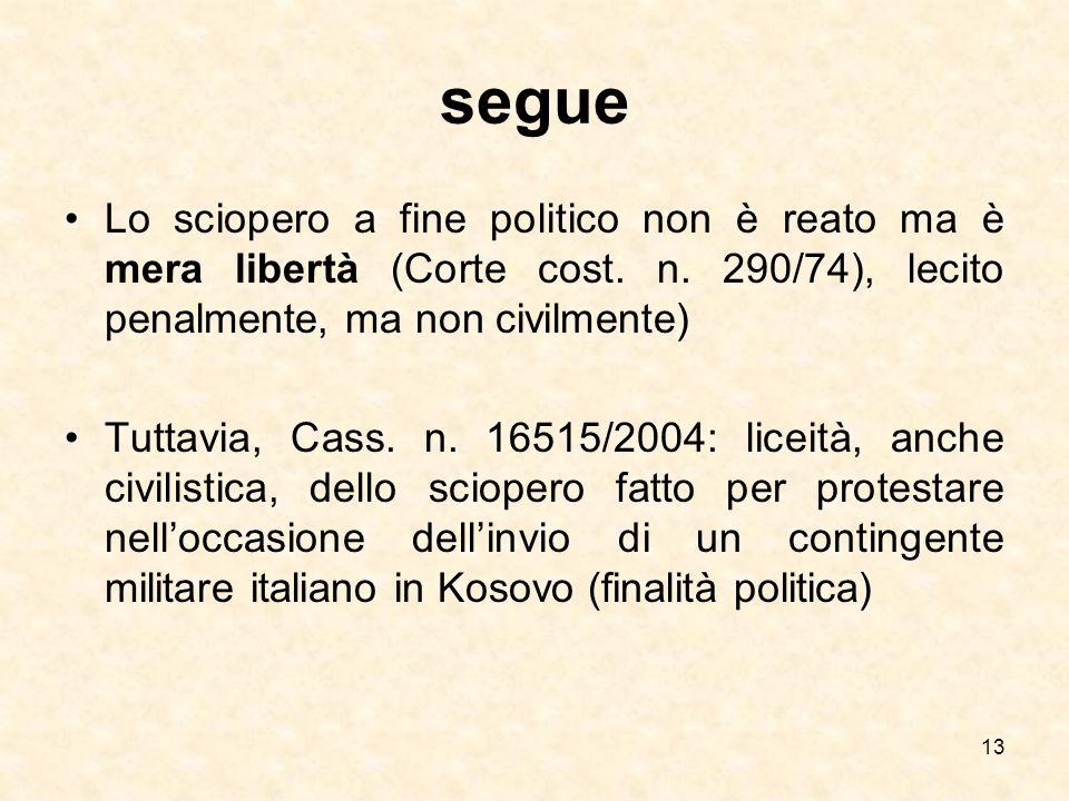 segue Lo sciopero a fine politico non è reato ma è mera libertà (Corte cost. n. 290/74), lecito penalmente, ma non civilmente)