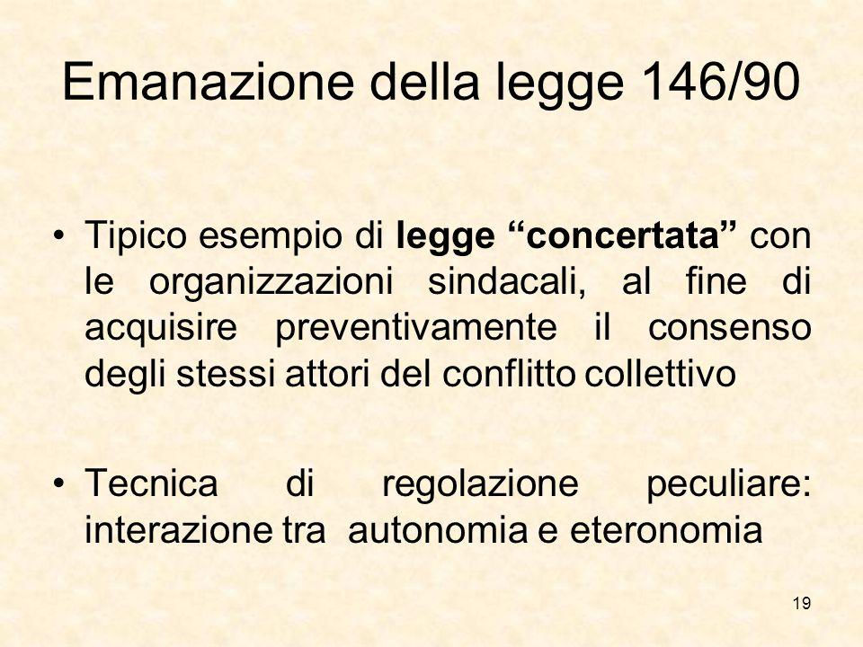 Emanazione della legge 146/90