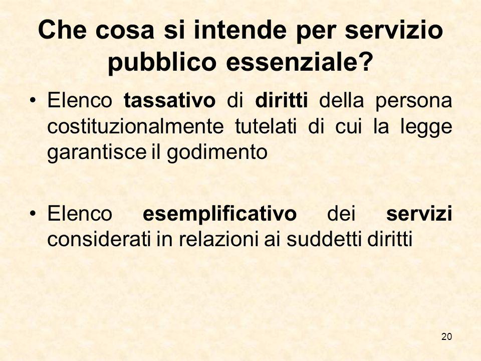 Che cosa si intende per servizio pubblico essenziale