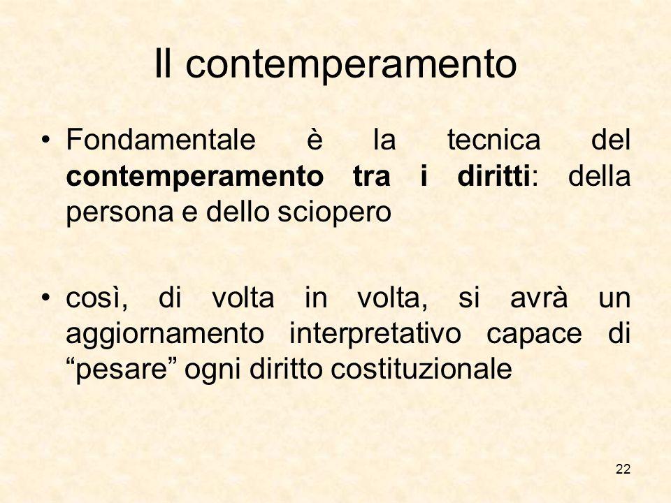 Il contemperamento Fondamentale è la tecnica del contemperamento tra i diritti: della persona e dello sciopero.