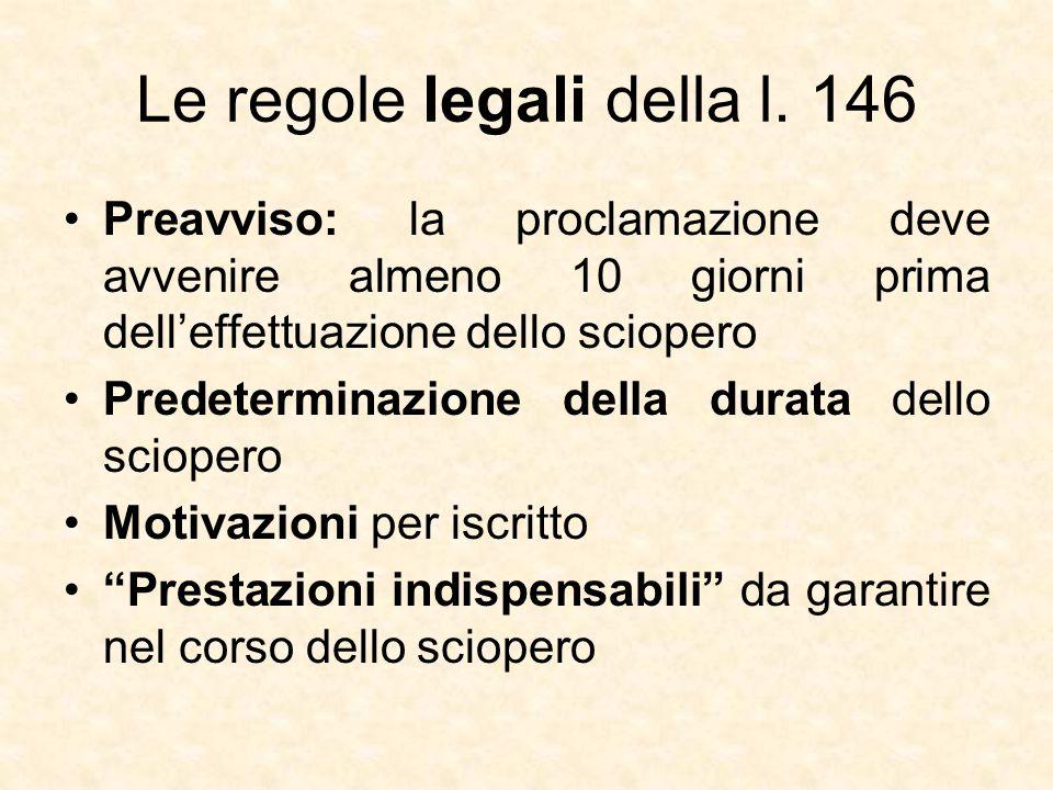 Le regole legali della l. 146