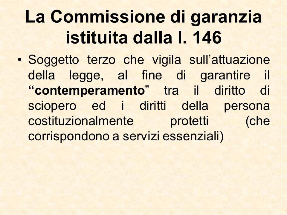 La Commissione di garanzia istituita dalla l. 146
