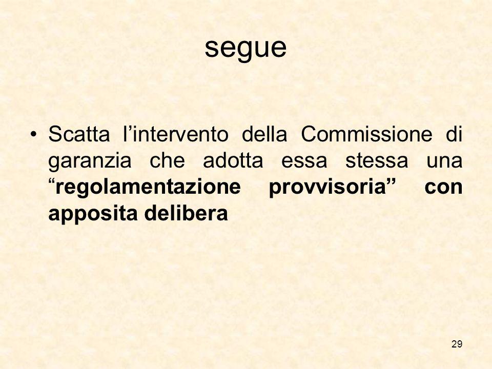 segue Scatta l'intervento della Commissione di garanzia che adotta essa stessa una regolamentazione provvisoria con apposita delibera.