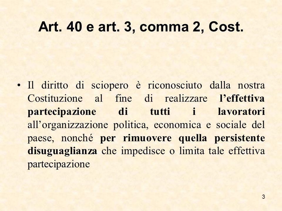 Art. 40 e art. 3, comma 2, Cost.