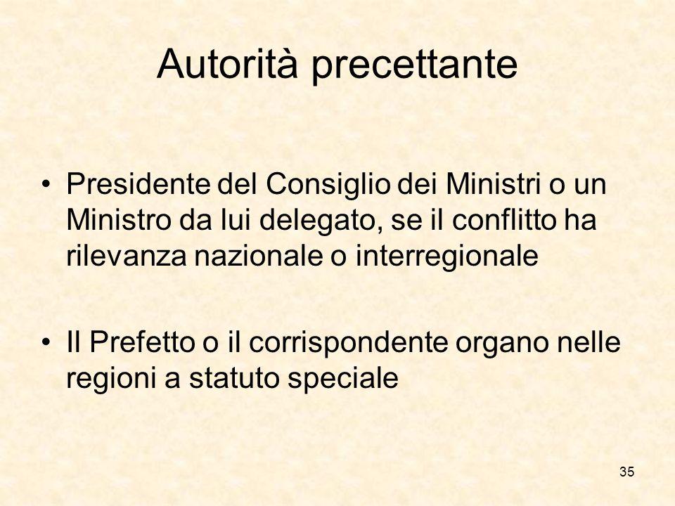 Autorità precettante Presidente del Consiglio dei Ministri o un Ministro da lui delegato, se il conflitto ha rilevanza nazionale o interregionale.