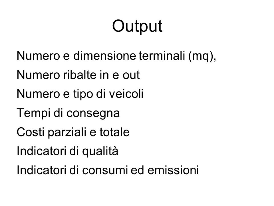 Output Numero e dimensione terminali (mq), Numero ribalte in e out