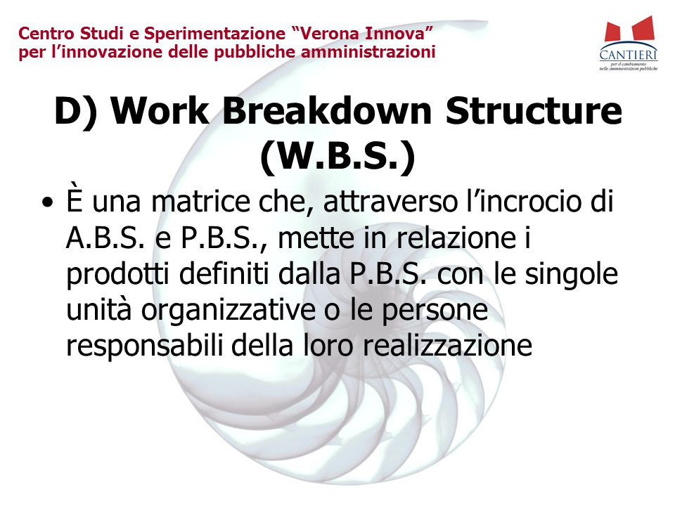 D) Work Breakdown Structure (W.B.S.)