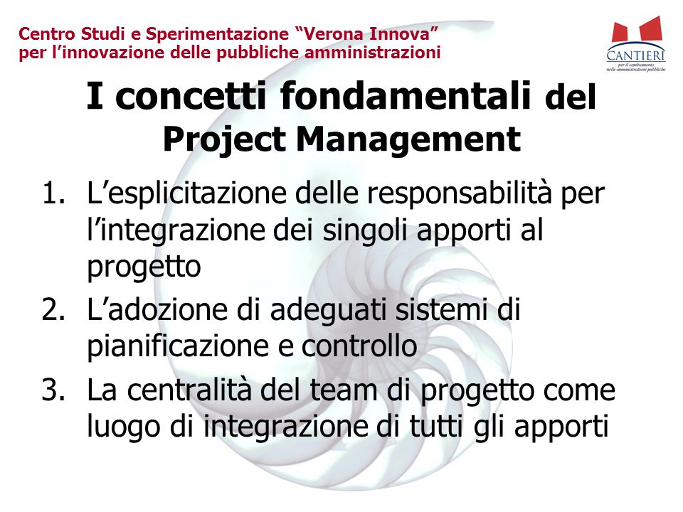 I concetti fondamentali del Project Management