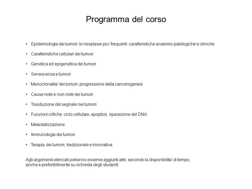 Programma del corso Epidemiologia dei tumori; le neoplasie piu frequenti: caratteristiche anatomo-patologiche e cliniche.