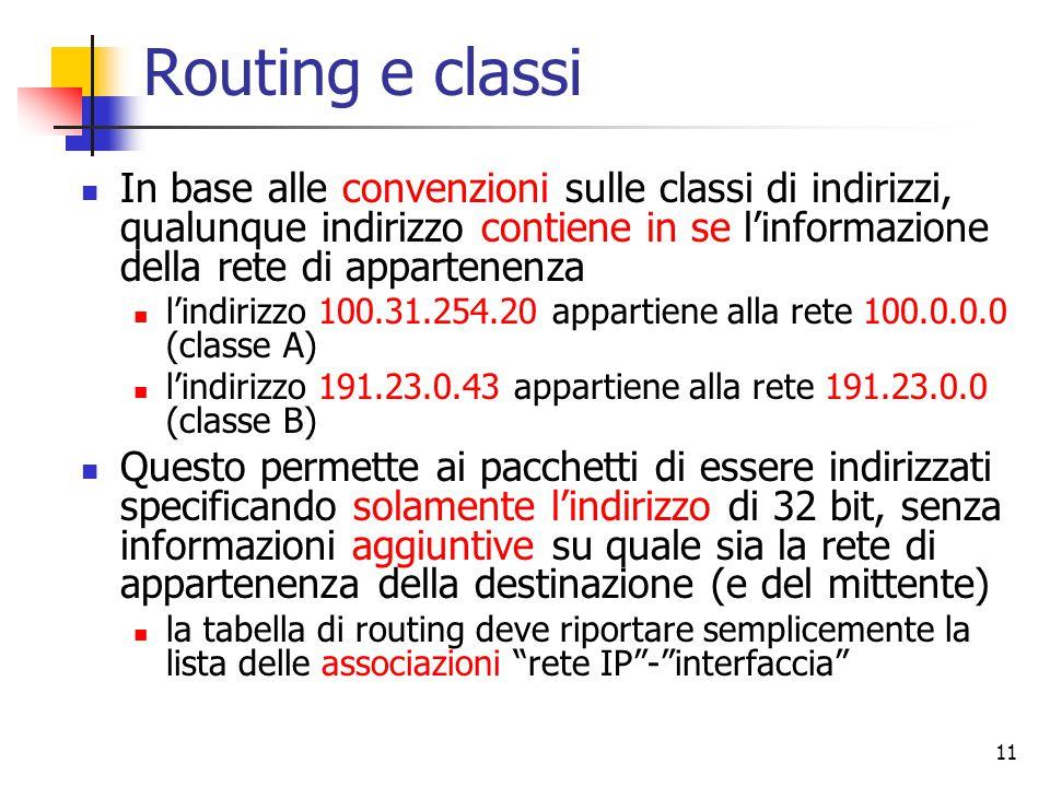 Routing e classi In base alle convenzioni sulle classi di indirizzi, qualunque indirizzo contiene in se l'informazione della rete di appartenenza.