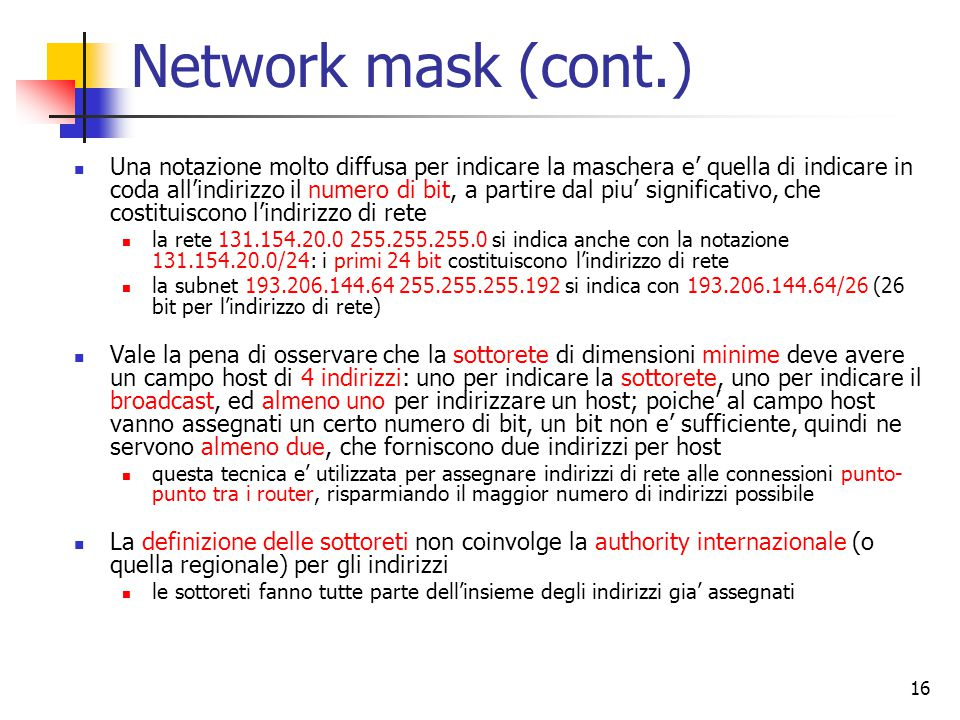 Network mask (cont.)