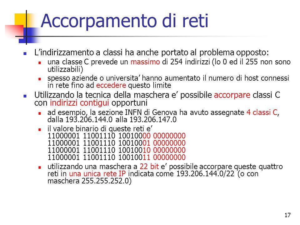 Accorpamento di reti L'indirizzamento a classi ha anche portato al problema opposto: