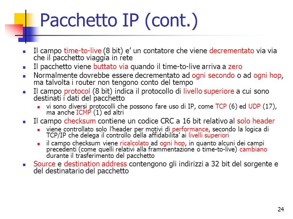 Pacchetto IP (cont.) Il campo time-to-live (8 bit) e' un contatore che viene decrementato via via che il pacchetto viaggia in rete.