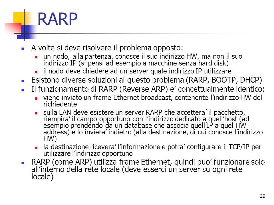 RARP A volte si deve risolvere il problema opposto: