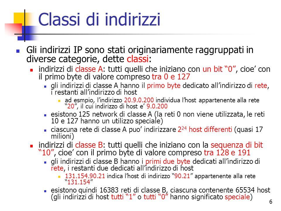 Classi di indirizzi Gli indirizzi IP sono stati originariamente raggruppati in diverse categorie, dette classi: