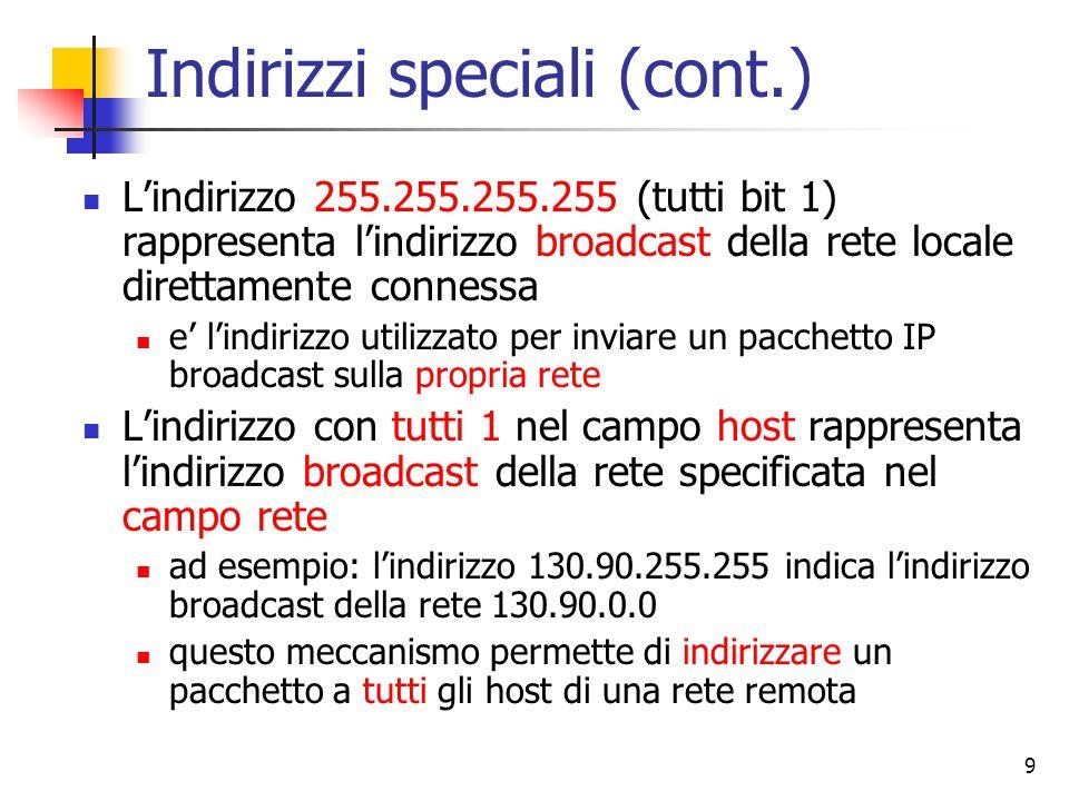 Indirizzi speciali (cont.)
