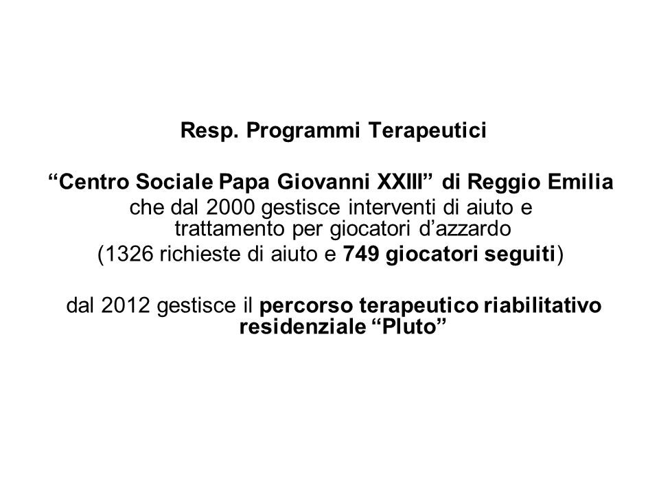 Resp. Programmi Terapeutici