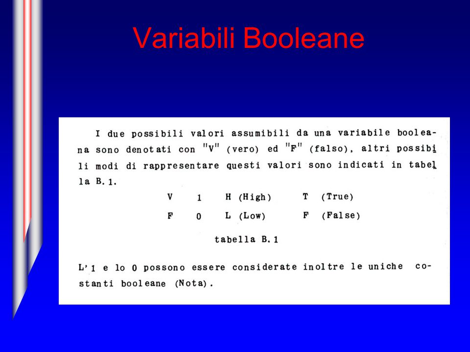 Variabili Booleane
