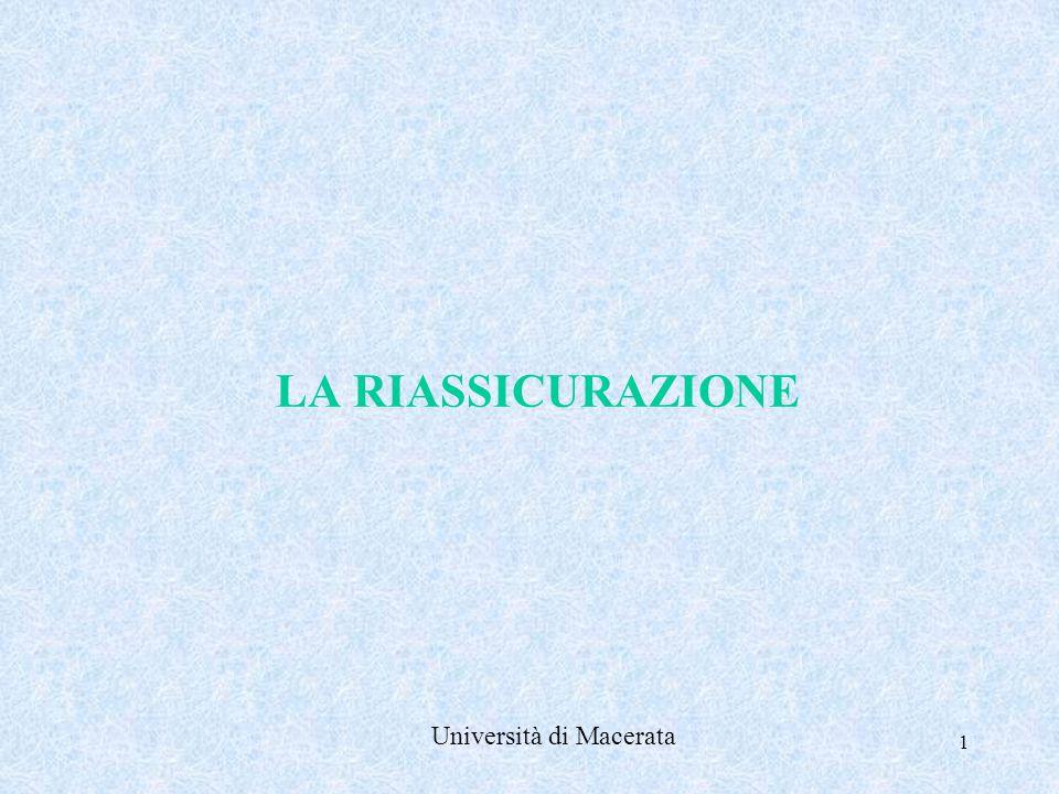 LA RIASSICURAZIONE Università di Macerata