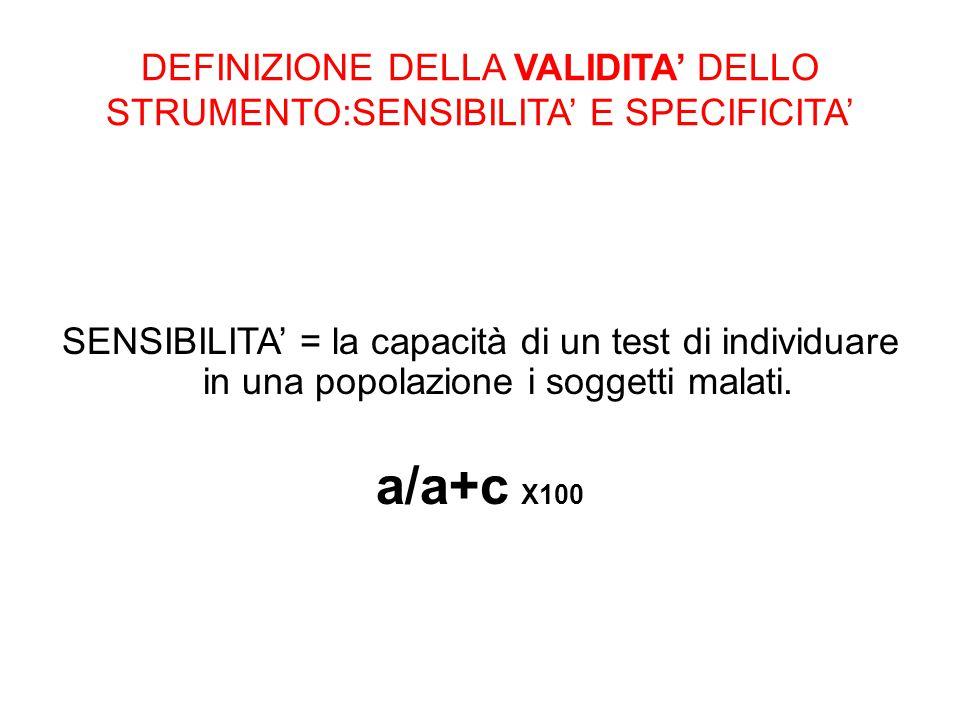 DEFINIZIONE DELLA VALIDITA' DELLO STRUMENTO:SENSIBILITA' E SPECIFICITA'