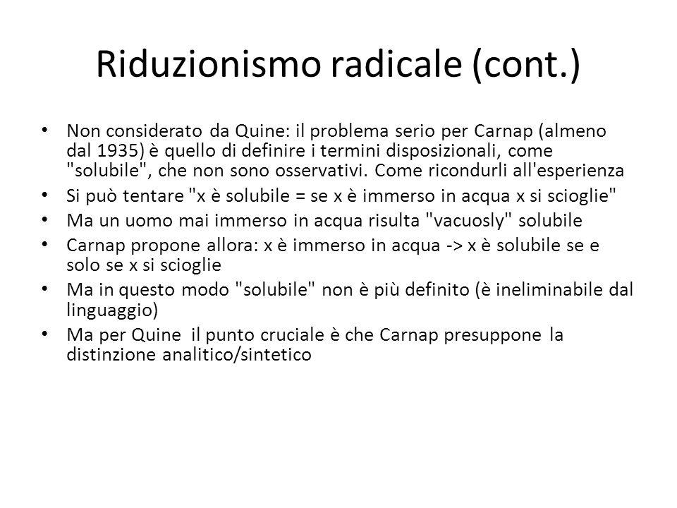Riduzionismo radicale (cont.)