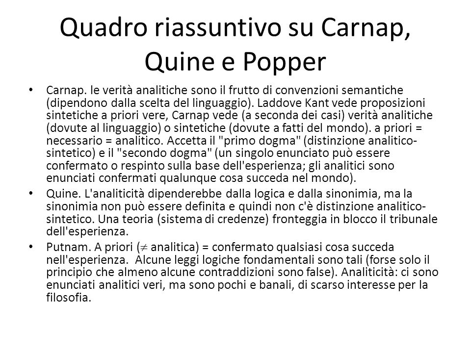 Quadro riassuntivo su Carnap, Quine e Popper